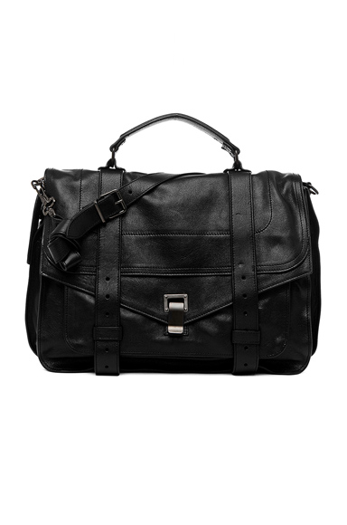 Proenza Schouler Large PS1 Leather in Black.