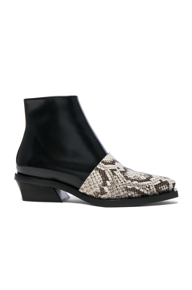 Proenza Schouler Leather & Snakeskin Ankle Boots in Black, Animal Print