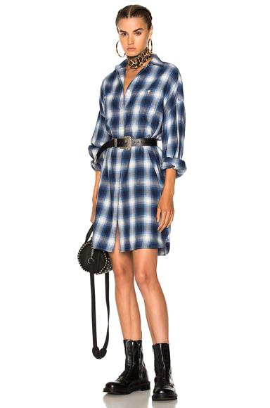 R13 AXL Shirt Dress in Blue, Checkered & Plaid