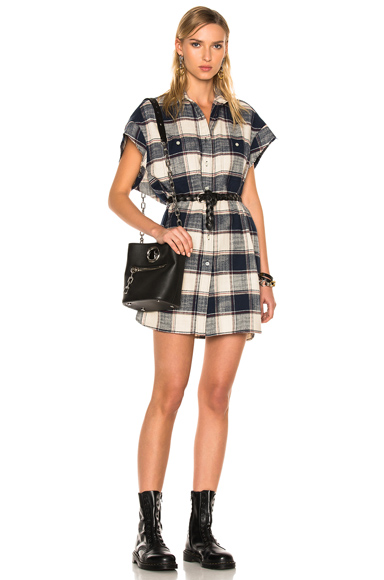 R13 for FWRD Exclusive Cut Off Sleeve Shirt Dress in Blue, Checkered & Plaide, Neutrals
