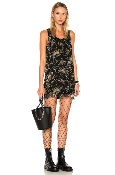 R13 for FWRD Exclusive Mini Tank Dress in Black, Floral, Neutrals
