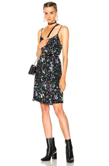 R13 Cami Mini Slip Dress in Black, Floral