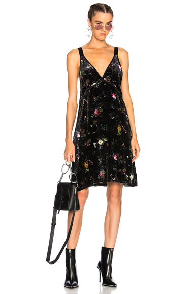 R13 Velvet Mini Slip Dress in Black, Floral