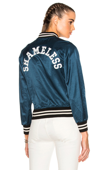 R13 Unlined Raglan Shameless Jacket in Green, Stripes