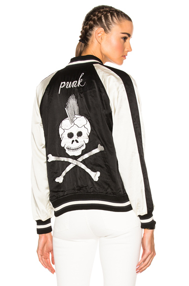 R13 Reversible Punk Sukajan Bomber Jacket in Black, Stripes, White