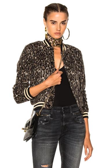 R13 Wool Roadie Bomber Jacket in Animal Print