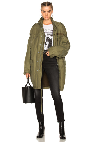 R13 Gusseted M65 Jacket in Green