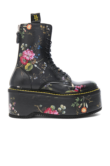 R13 Leather Double Stack Boots in Black, Floral