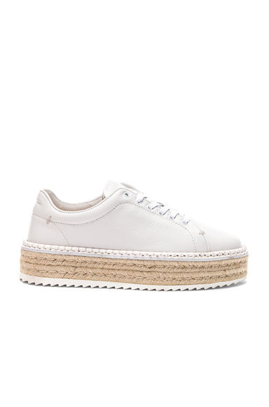 Rag & Bone Leather Kent Espadrilles in White, Animal Print