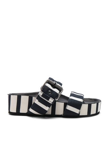 Rag & Bone Canvas Evin Slides in Stripes, Blue