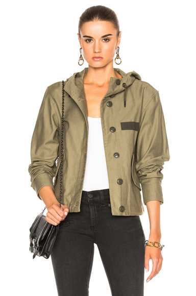 rag & bone/JEAN Laurel Cropped Parka Jacket in Green