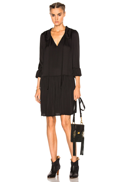 Raquel Allegra Ruffle Neck Dress in Black