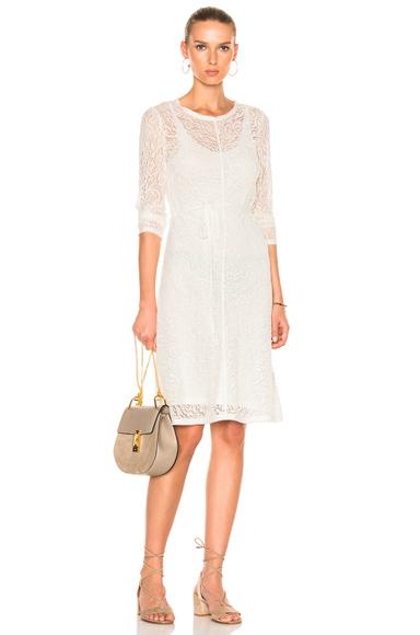 Raquel Allegra Bias Long Sleeve Dress in White
