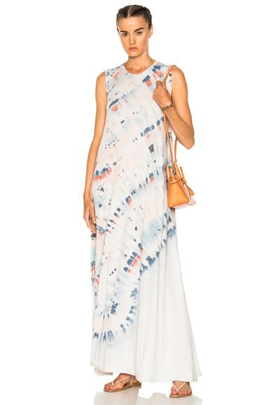 Raquel Allegra Sleeveless Drama Maxi Dress in Blue, Ombre & Tie Dye, Pink, White