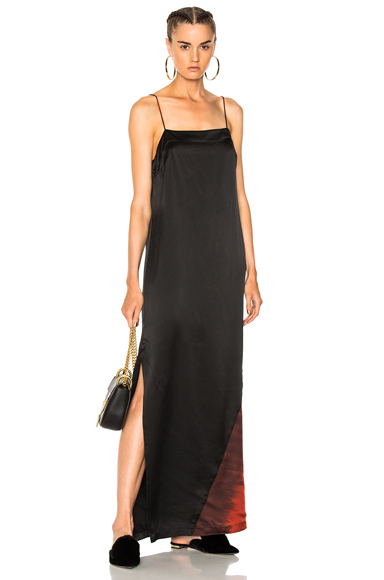 Raquel Allegra Ombre Column Gown in Black, Ombre & Tie Dye, Red