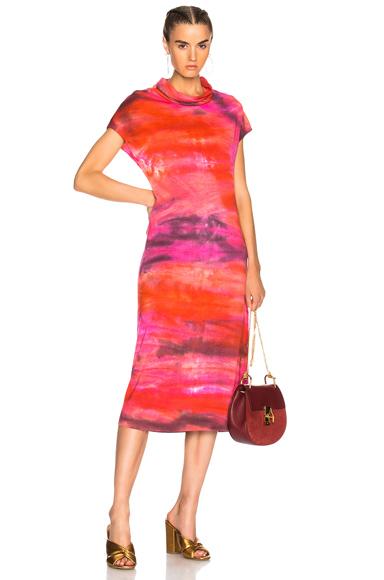 Raquel Allegra Icon Dress in Ombre & Tie Dye, Pink, Red