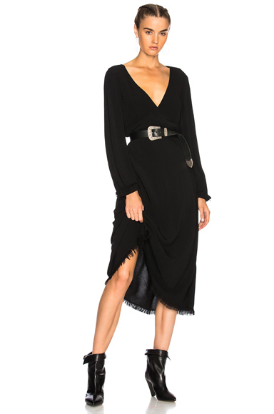 Raquel Allegra Long Sleeve Tulip Dress in Black