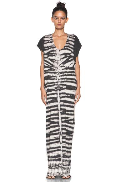 RAQUEL ALLEGRA | Tye Dye Caftan Dress in Black Fossil