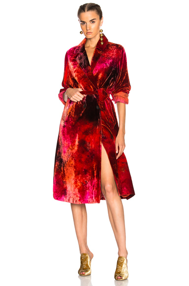 Raquel Allegra Cropped Trench in Ombre & Tie Dye, Red