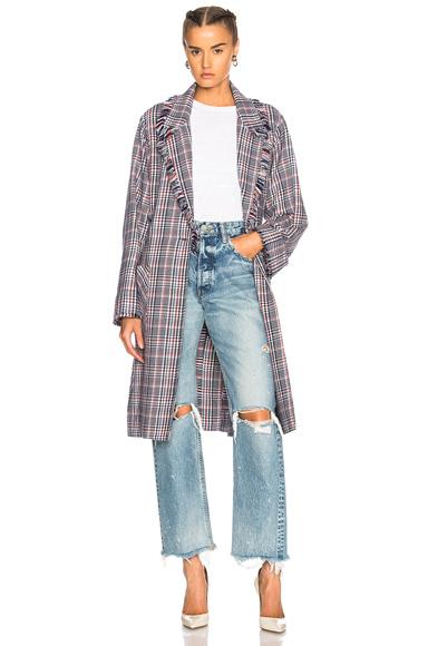 Raquel Allegra Macintosh Coat in Blue, Checkered & Plaid