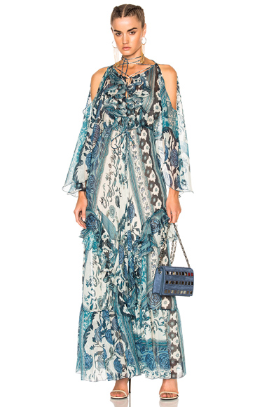 Roberto Cavalli Asymmetrical Dress in Blue, Floral