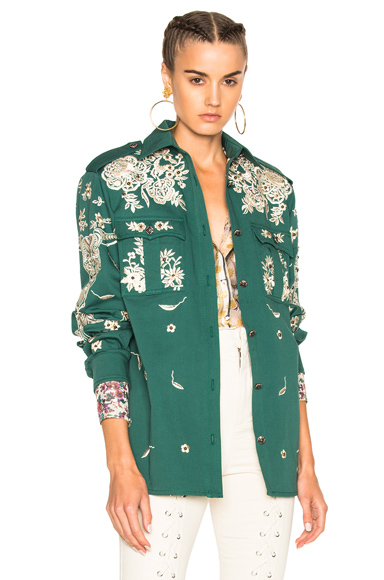 Roberto Cavalli Embroidered Jacket in Green, Floral