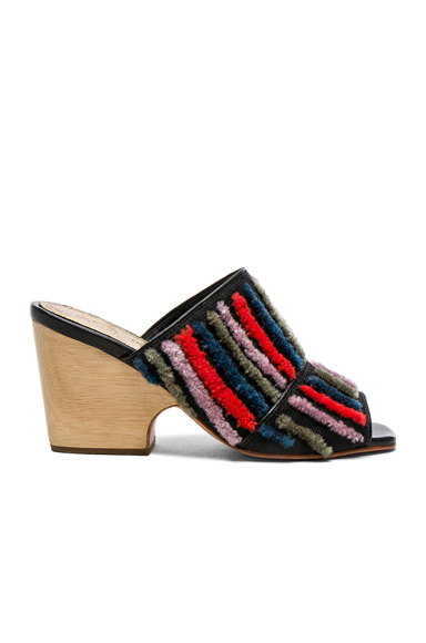 Rachel Comey Embroidered Dahl Sandals in Stripes, Black