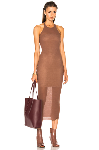 Rick Owens Rib Cotton Tank Dress in Brown, Neutrals