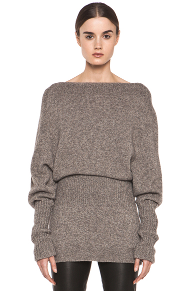 RICK OWENS | Dafne Long Sleeve Sweater in Light Grey