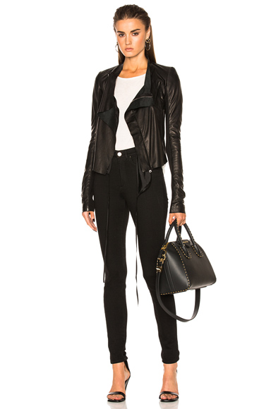 Rick Owens Low Neck Biker Jacket in Black