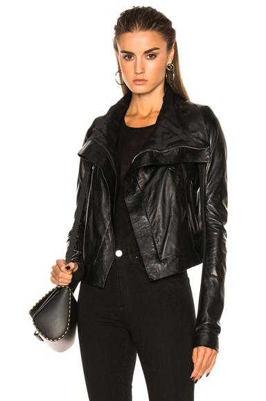 Rick Owens Vegetal Leather Classic Biker Jacket in Black