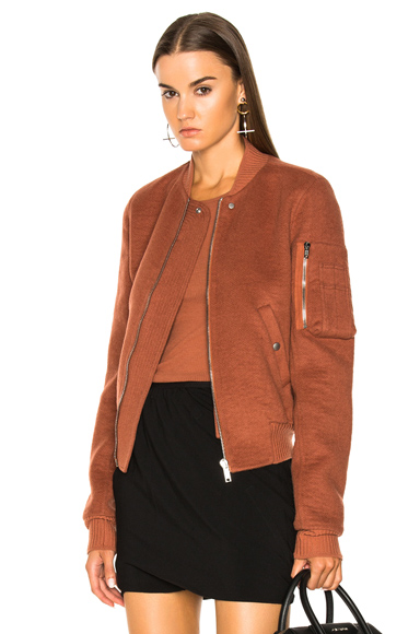 Rick Owens Double Cashmere Flight Bomber Jacket in Brown, Orange
