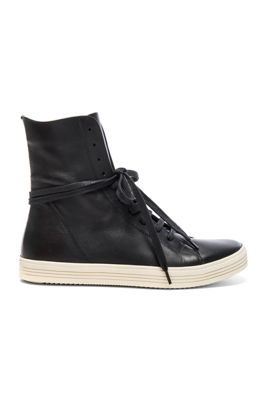 Rick Owens Leather Mastodon Sneaks in Black