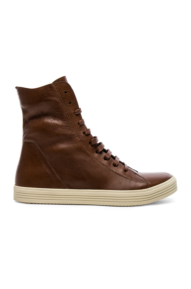 Rick Owens Leather Mastadon Sneakers in Brown