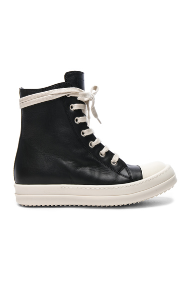 Rick Owens Leather Sneakers in Black