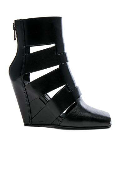 Rick Owens Leather Lazarus Wedges in Black