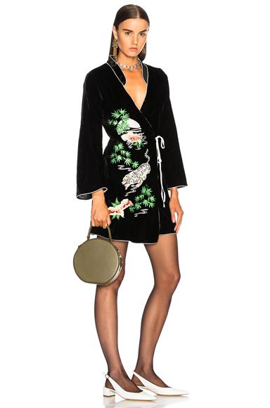 RIXO LONDON Velvet Iris Dress in Black, Floral