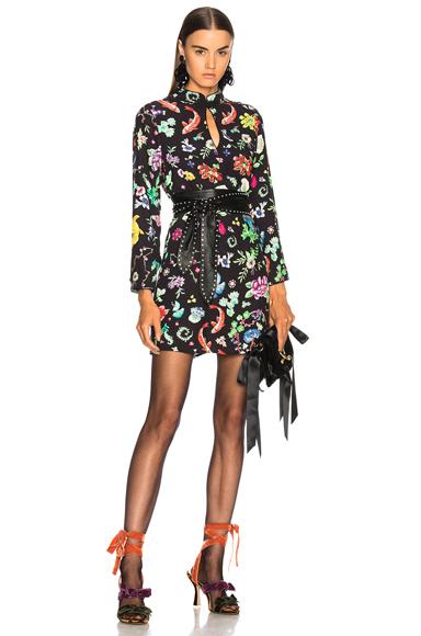RIXO LONDON Lotus Dress in Animal Print, Black, Floral