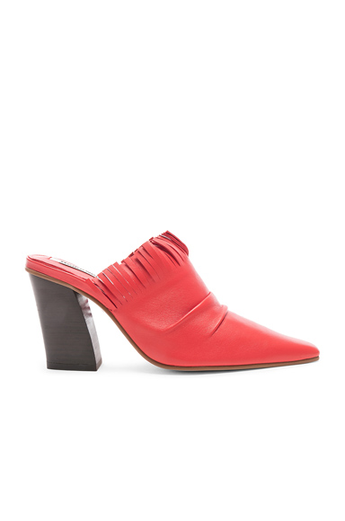 REIKE NEN | Reike Nen Fringe V Mule In Red. - Size 40 (Also In 36,37,38,38.5,39) | Goxip