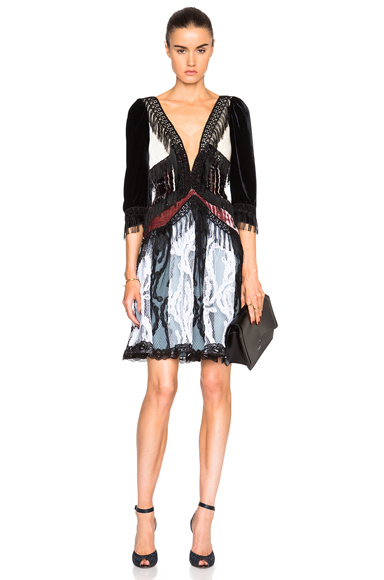 Rodarte Paisley Silk Velvet Dress in Black, Abstract