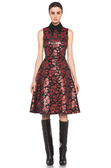 RODARTE | Embroidered Tulle Dress in Red & Black Floral