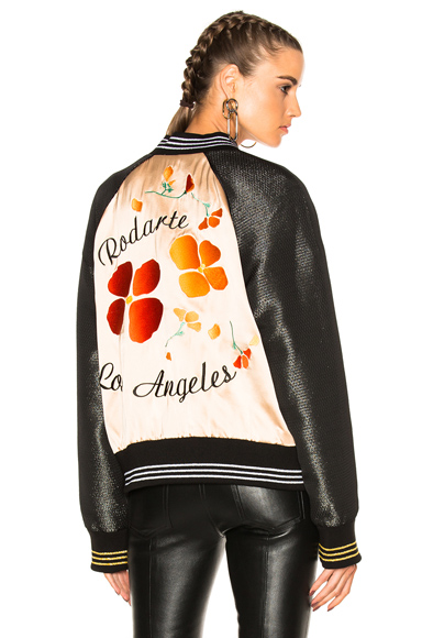 Rodarte Limited Edition Bomber Jacket in Black, Floral, Metallics, Neutrals, Stripes