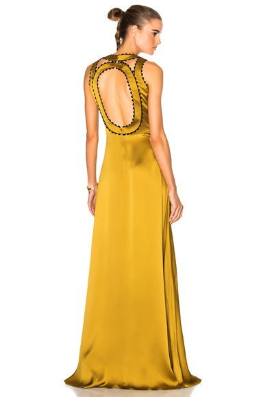 Roksanda Silk Seersucker Okin Dress in Green, Yellow
