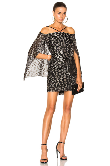 Roland Mouret Meedstead Blossom Fils Coupe Mini Dress in Abstract, Black, Neutrals