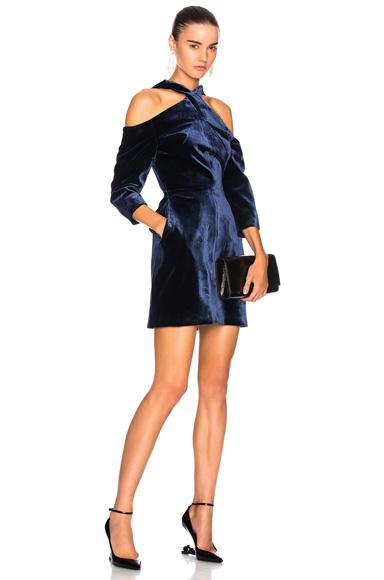 Roland Mouret Harlington Cold Shoulder Long Sleeve Mini Dress in Blue