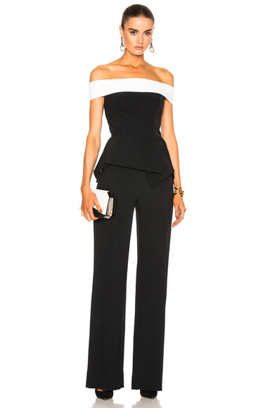 Roland Mouret Danielson Stretch Crepe Jumpsuit in Black, White
