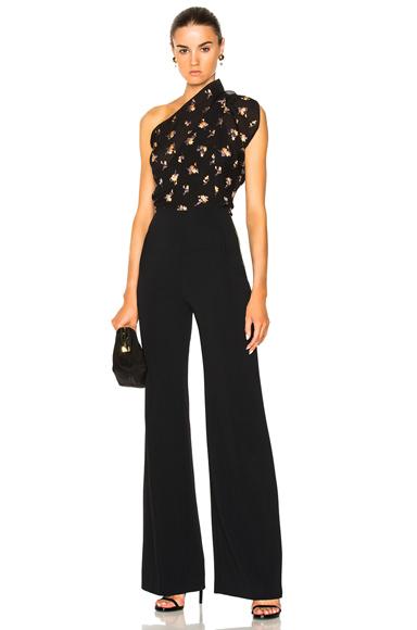 Roland Mouret Colburn Sleeveless Floral Jumpsuit in Black, Floral