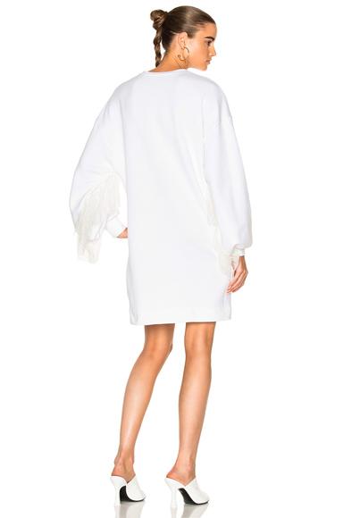 Ryan Roche Sweatshirt with Ruffle Sleeve Dress in White