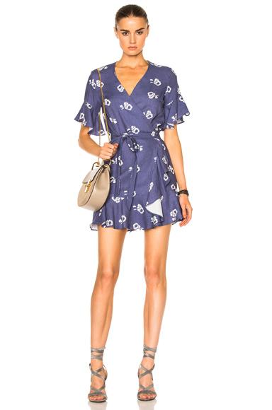 Sea Floral Ruffle Dress in Blue