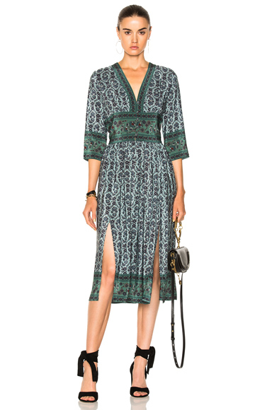 Sea 3/4 Sleeve Slit Midi Dress in Floral, Green